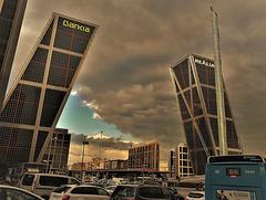 Plaza de Castilla, Madrid, Torres Kio and the Hypodermic Needle.