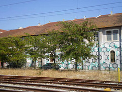 Painted building.