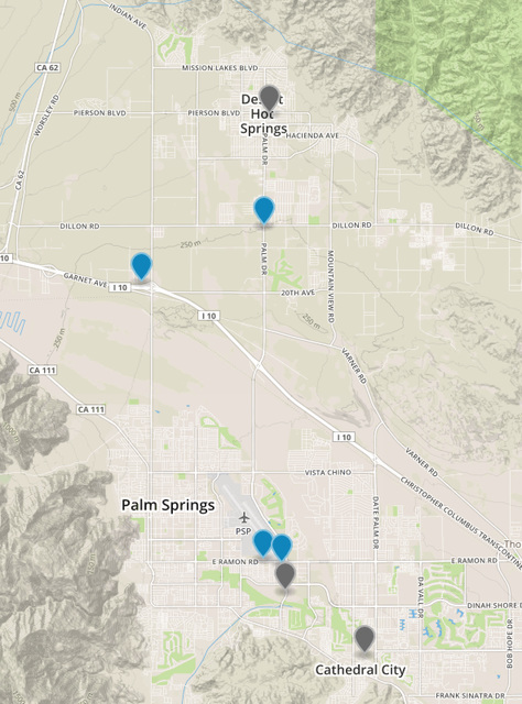 Map of Legal Medical Marijuana Dispensaries in the Coachella Valley