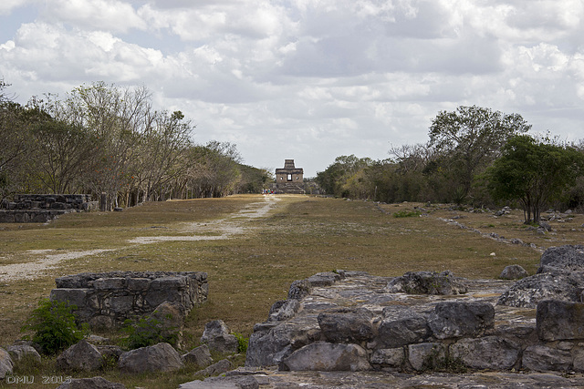 Sacbe and temple in the archaeological site Dzibilchaltun/Mexico