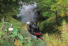 LMS class 5 no 44806 at Beck Hole on The North York Moors Railway
