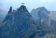 DE - Altenahr - Ruins of Burg Are, with devil's hole in the background