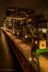 The Crane Houses in the Rheinauhafen of Cologne, Germany at night 2