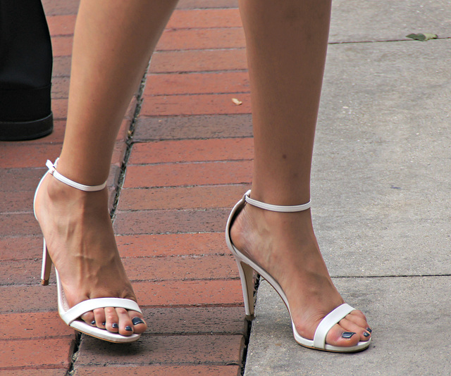 walking white heels
