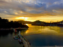 Sunrise over DSME and Okpo Bay
