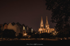 The Cologne Cathedral, the Philharmonic Hall and the Ludwig Museum at night