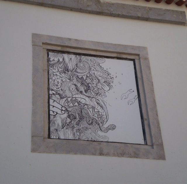 Drawing in window frame.