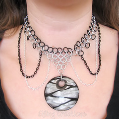 moon gothic chainmaille necklace