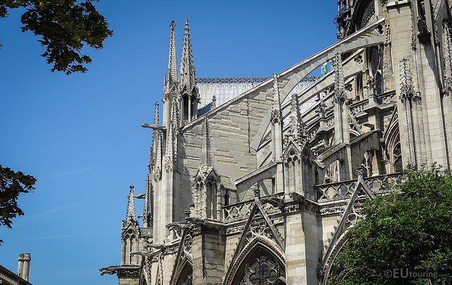 Gargoyles with gutters on the Notre Dame