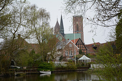 Denmark, View to Ribe Cathedral from the Park