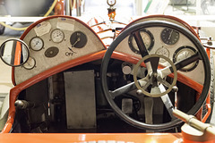 The cockpit view of a Vauxhall two seater sports car
