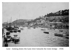 Looe river and bridge in 1936 by J Sutters