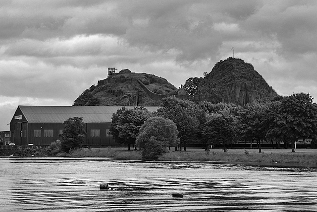 River Leven and Dumbarton Rock in the Rain