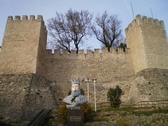Castle and bust of Sancho I, second king of Portugal.