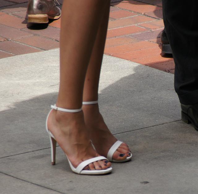 white heels walking