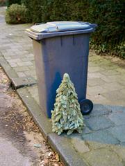 Bin with Christmas tree