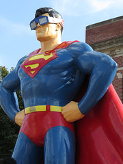 Superman wearing his eclipse glasses
