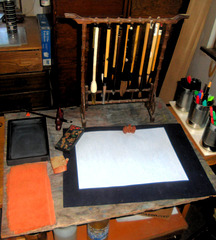 Setup for sumi-e painting