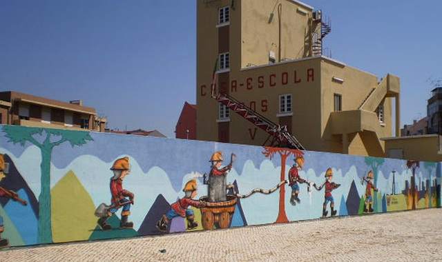 Mural on wall of Fire Brigade Headquarters.
