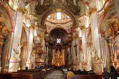 St Nicholas' Church, Lesser Town Square, Prague (interior looking east from nave)