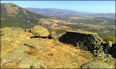 San Lorenzo de El Escorial from El Fraile, Las Machotas and an ancient dry stone wall