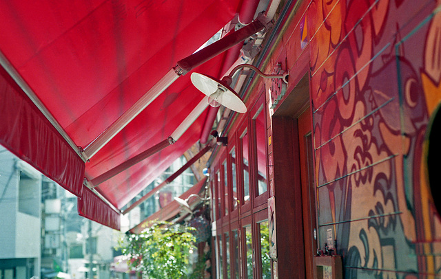 Red awning