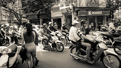 traffic in the old center of Hanoi