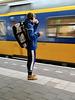 Coffee, mobile phone and train