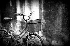 Wall and bicycle