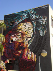 Warping mural, by Hopare.
