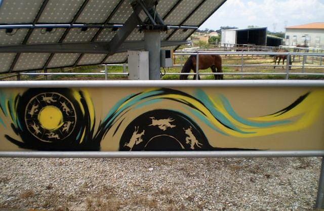 Graffiti in equestrian centre.