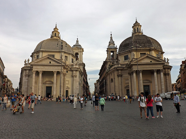 Twin Churches in Piazza del Popolo in Rome, June 2014