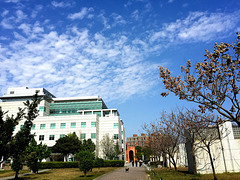 blue sky and white clouds and National Taiwan Library