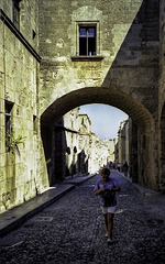 Pat in Rhodes Old Town 1994