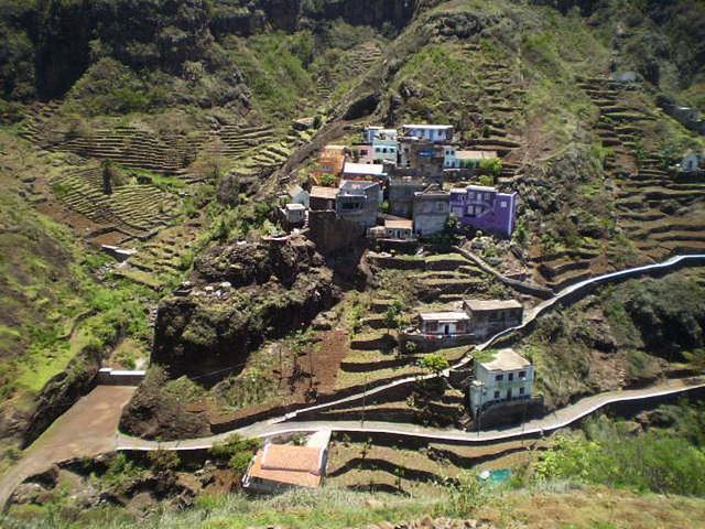 Rural village on mountainside.