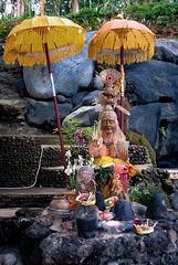 Sacrificial altar at Pura Taman Beji Giriya