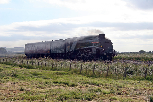 LNER class A4 60009 UNION OF SOUTH AFRICA on test running as 5Z68 York NRM - Scarborough at Willerby Carr crossing 16th June 2017