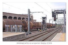 GB Railfreight 66753 on an up tanker train rearview - Reading - 27 7 2018