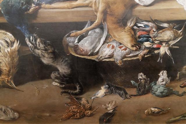 """""""Table de cuisine avec gibier et légumes"""" (détail) (Frans Snyders)"""