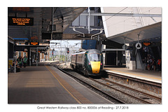 Great Western Railway class 800 no 800006 at Reading 27 7 2018