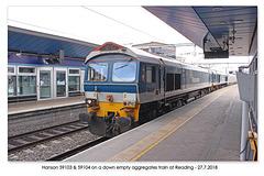Hanson 59103 & 59104 on a down empty aggregates train at Reading - 27 7 2018