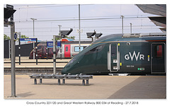 X Country 221120 & GWR 800034 at Reading - 27.7.2018