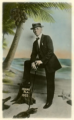 Man with Alligators and Coconut Tree, Miami, Florida, 1922