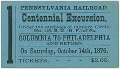 Pennsylvania Railroad Centennial Excursion, Columbia to Philadelphia, Pa., Oct. 14, 1876