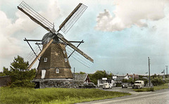 Windmill - old postcard from Sweden