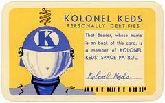 Kolonel Keds' Space Patrol Membership Card