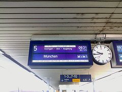 Munchen Hbf Sign Reading, Edited Version, Mannheim, Baden-Württemberg, Germany, 2015