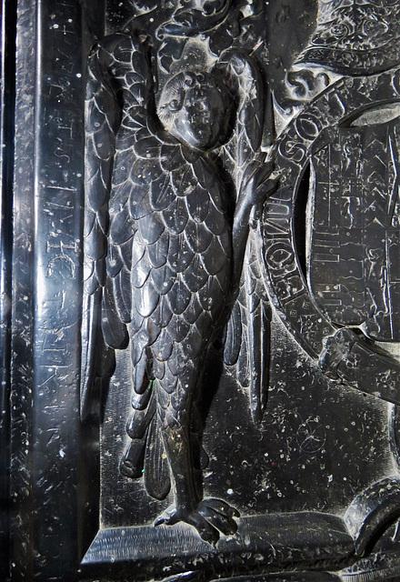 castle hedingham church, essex , c16 tomb of john, 15th earl of oxford +1539, harpy