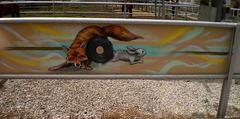 Graffiti in the equestrian centre.