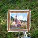 Un artista sta ritraendo la Chiesa della Natività di Maria Vergine (cfr. foto precedente)  -  Croveo (VB)